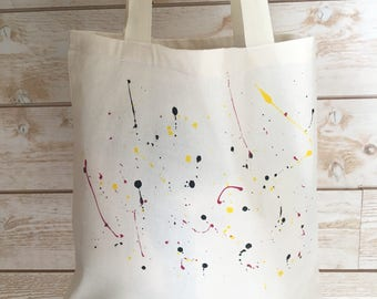 Painting pattern cotton tote bag by hand