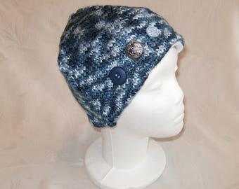 Blue Knit Hat, Upcycled Knit Hat, Upcycled Sweater Hat, Lined Blue Winter Hat, Ladies Blue Toque, Variegated Blue Toque