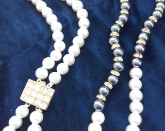 Vintage Pearl and hematite necklace of the years 1980