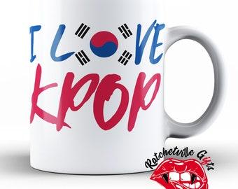I Love KPOP Coffee Mug 11oz | K Pop Mug, K-pop Gift, Korean Pop Music, Cute Mug, Fandom Coffee Mug, K-Pop Fan Gift, I love You Mug