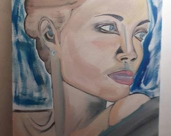Diva in light blue 50x70x5 oil on canvas