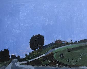 Night Ride, Hillside, Original Spring Landscape Painting on Panel, Stooshinoff