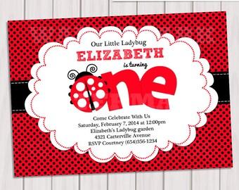 Ladybug Invitation / Ladybug Invite / Cute Ladybug Invitation / 1st Birthday Ladybug Invitation
