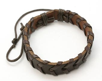 Hand Made Mens Brown Leather Surfer Style Bracelet Adjustable