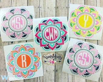 Mandala Decal | Mandala Monogram | Yeti Decal | Car Decal | Monogram Decal | Laptop Decal | Vinyl Decal | Personalized Sticker | Mandala