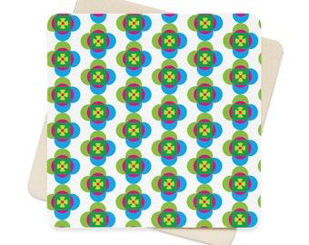 Flower Pattern Square Paper Coaster Set  6Pcs