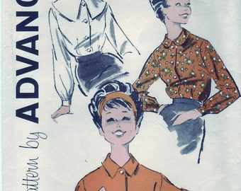 Vintage 1960 Advance 9158 Sewing Pattern Teen's, Junior's Blouse Size 15 Bust 35
