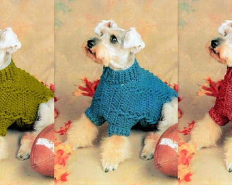 Vintage Crochet Cabled Dog Sweater Coat Pattern PDF Instant Download Retro 80s Pullover For Medium Sized Dogs