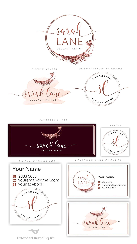 Kosmetiksalon logo  Lashes logo Eyelash logo Cosmetics logo Premade Branding
