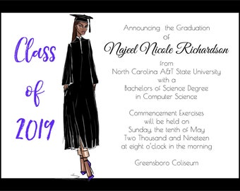 African American Graduation Announcement - Fashion | African American Graduation Party Invitation | Fashion Graduation Announcement |