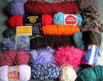 Mystery mixed lot of yarn more than 2 pounds destash