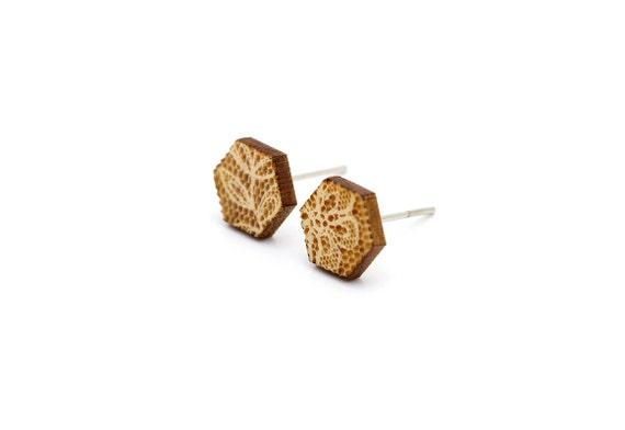Hexagon studs with lace pattern - geometric earrings - romantic wedding jewelry - lasercut maple wood - hypoallergenic surgical steel posts