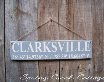 Modern Rustic, Signs, Custom, Coordinates, Latitude, Longitude, Rustic, Coastal Decor, Beach, Nautical, Handpainted, Housewarming Gifts