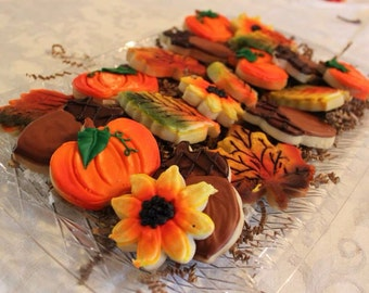 Fall Sugar Cookie Tray  (pumpkins, acorns, fall leaves and sunflowers)