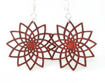 Geometric flower - Beauty in Symmetry - Wood Earrings