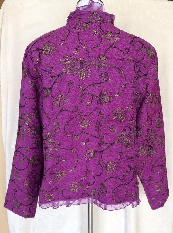 Vivid Purple, tweed ,jacket with floral pattern,Size large.Lace Embellishments,Alex Kim