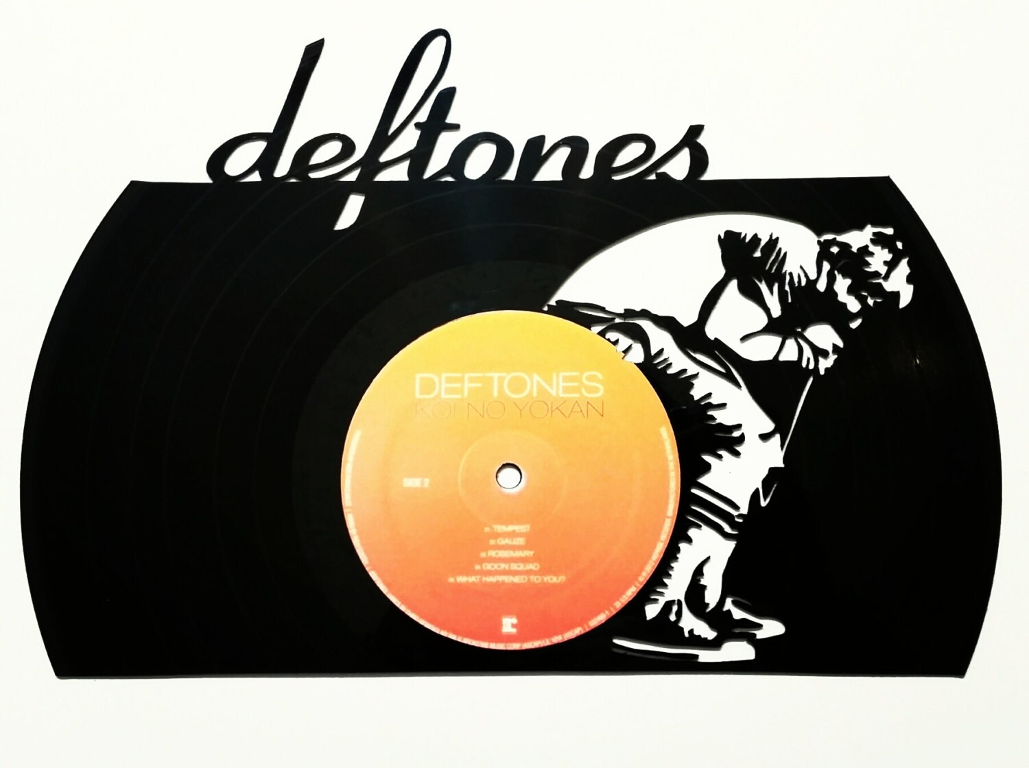 Deftones Chino singing silhouette vinyl record art. On a