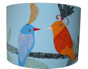 "Parrot Bird Print Handmade Large Lampshade Light Shade Tropical Blue Lamp base 16"""