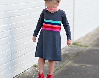 Girls Long Sleeves Charcoal Rainbow Dress,  Girls Dresses, Dresses, Girls Clothing, Dresses for Girls Sizes 4/5, 6/6X, 7/8, 10 Ready to Ship