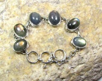 Labradorite Gemstones, Solid 925 Sterling Silver Jewelry Handmade Bracelet