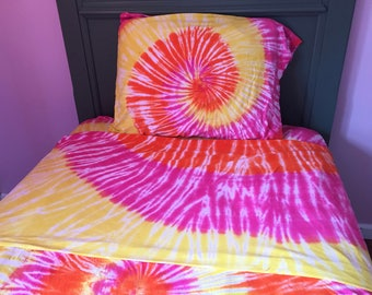 SALE:  Pink Orange and Yellow Tie-Dyed Sheet Sets