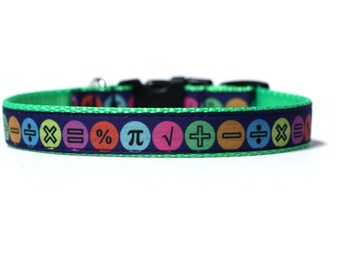 5/8 or 3/4 Inch Wide Dog Collar with Adjustable Buckle or Martingale in Math Geek an Exclusive Design