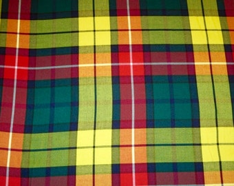 Modern Buchanan Tartan Fabric~5 yards on sale~Green Red Yellow Plaid Fabric~Kilt Suiting Jacket scarfTartan Fabric~Buchanan Plaid@sohoskirts