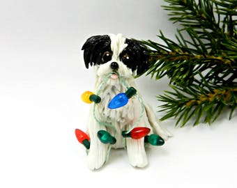 Havanese Shih Tzu Black White Porcelain Christmas Ornament Figurine Lights