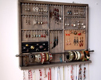 Jewelry holder. Large earrings display  shelf. GRAY stain jewelry storage. wall mounted earring holder. jewelry organizer.  earrings storage