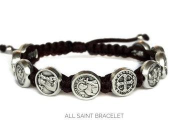 Saint Catholic woven bracelet, saints bracelet, catholic jewelry, religious medal, christian man bracelet, saint bracelet, catholic bracelet