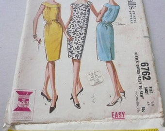 Vintage McCalls Pattern 6762  Misses Sleeveless Easy To Sew  Dress Size 14  Factory Fold