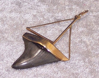 SEA SHARK I - Sail Boat Pendant in Grey Fossilized Shark's Tooth and 14K Gold