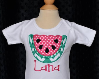 Personalized Watermelon Applique Shirt or Bodysuit Girl