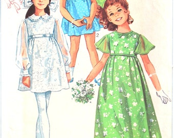 UNCUT Girl's Flower Dress Pattern with Peter Pan Collar Size 6