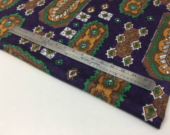"VINTAGE — 0.45 m / 0.5 yds — lightweight cotton satin — purple w/ green and gold geometric pattern — 80 cm / 32"" wide"