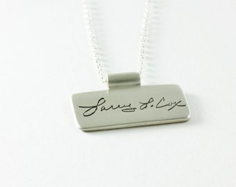 Silver Memorial Jewelry Actual Handwriting Necklace Including Bail and Chain