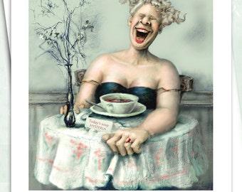 "Funny card, whimsical card, women's card, original card, art card, blank card, greeting card, note card - ""Hysteria"" - NC32"