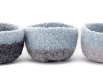 WOOLY FELTED BOWLS --three felted bowls in light blue and three shades of grey 17