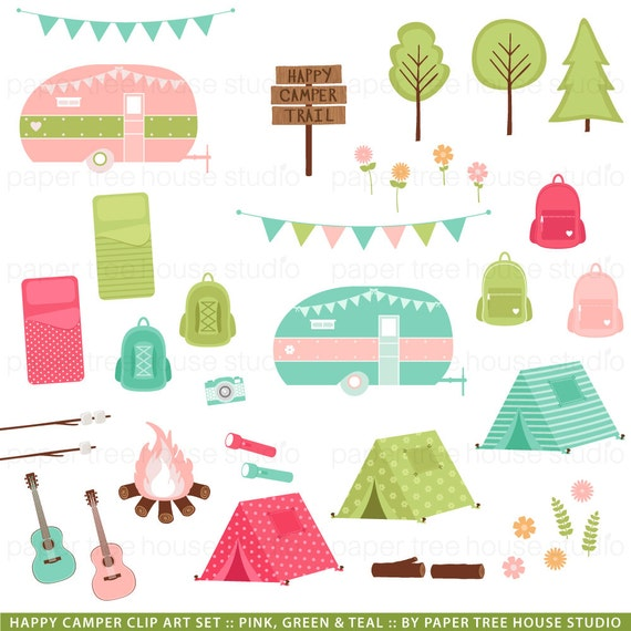 Camping Clip Art Camper Clipart Glamping Sleepover