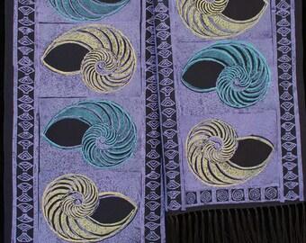 "Unique linocut hand-printed silk scarves, 10""x 54"" with fringe, red- 10"" x 60"" original designs, wearable art: Nautilus II"
