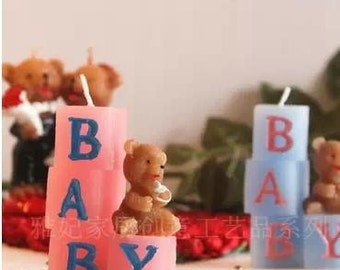 """Baby Bear Pink Girl Baby Shower Candle / Cake Topper 2"""" X 2-1/2"""""""