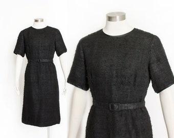 Vintage 1960s Dress - Black Fuzzy Short Sleeve Pencil Skirt Day Dress - Extra Large