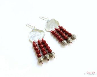 Red, bohemian, artisan earrings