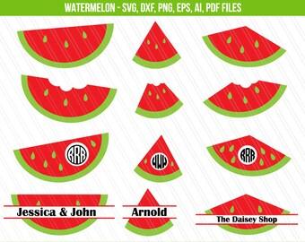 Watermelon SVG, Watermelon monogram svg, Fruit watermelon SVG, cricut, Watermelon split monogram, Cricut Silhouette cameo cut files, PNG,Dxf