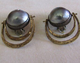 Gray pearl and Sterling Silver Clip On Earrings