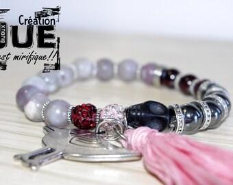 Semi-precious stone bracelet, Garnet, cherry quartz and hematite and tassel (tassel)