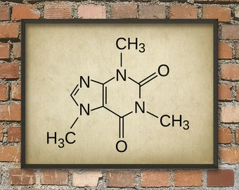 Caffeine Molecule Poster - Caffeine Illustration Art Print - Caffeine Chemical Structure - Caffeine Wall Art - Kitchen Wall Art - Coffee Art