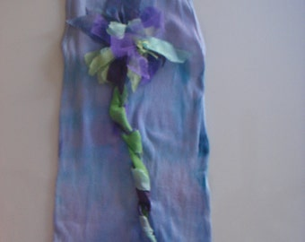 violet blue  tones on this hand dyed and silk embellished tee