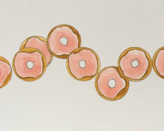 Original Watercolor Many Pink Frosted Donuts Painting + Card // 10x16cm