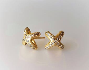 Diamond Studs . Stud Earrings in 18k Solid Gold and Diamonds . X Studs . Gold Studs . Diamond Earrings . Diamond Star Studs . xo . XO . Kiss